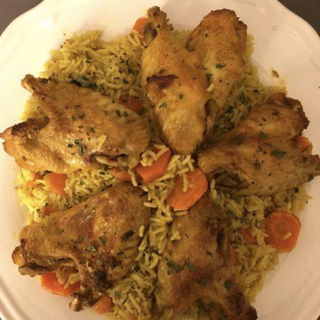 Ailes de poulet et riz carotte